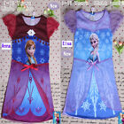 Girl Elsa Frozen Queen Dress 4-12Y Cosplay Costume Pajama Sleepwear Nightgown F