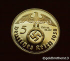 1 oz GOLD PLATED GERMAN IRON CROSS REISCHSMARK COIN  NEW! IN CAPSULE