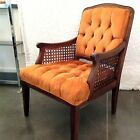 Hollywood Regency Tufted Orange  Velvet Chair With Cane Vintage Mid Century Mod