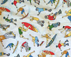 13+Yds Fabric 54W Bloomcraft Screen Print P571 Boy Surfer Beach New Heavy Cotton