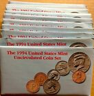 LOT OF TEN (10) 1994 US MINT SETS -- 100 UNCIRCULATED BU COINS IN MINT CELLO P+D