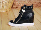 New Womens Real leather Heels Sneaker Lace Up Shoes High Top Ankle Wedge Boots