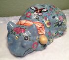 Rare Famille Rose Chinese Porcelain Hand Painted Flowers Sleeping Cat Figurine
