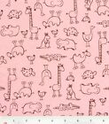 1.25 YARDS Pink Animal Outline Flannel Fabric - giraffe elephant camel alligator