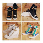 New FASHION Womens Heels Sneaker Lace Up Shoes Velcro High Top Ankle Wedge Boots