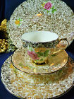 ROYAL TRON TEA CUP AND SAUCER TRIO & CAKE PLATE TEA ROSES GOLD FLORAL CHINTZ