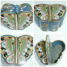 ANTIQUE JAPANESE CLOISONNE JEWELLERY TRINKET BOX ENAMEL BUTTERFLY INSECT FLOWER