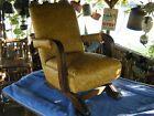 CHILDS VINTAGE ANTIQUE ROCKING CHAIR VINYL HARVEST GOLD MATERIAL  WOOD ARM REST