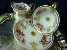 STUNNING PARIS PORCELAIN TEA & COFFEE CUP AND SAUCER TRIO HP FLORAL 1820-25 GOLD