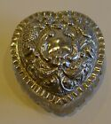 Antique English Cut Crystal Heart Shaped Box - Sterling Silver Lid
