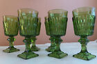 Vintage Indiana stemware, green wine/water goblets/glasses, set of 7  EUC