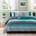 MODERN TEAL BLUE GREY BLACK WHITE POLKA DOT STRIPE GIRLS COMFORTER SET W PILLOW
