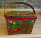 Strawberry Basket Brown Wood Purse Sewing Box Hand Painted W/Mirror True Vintage
