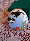 CHINEMEL Y LEE Porcelain Enamel on COPPER TRINKET BOX Sea KILLER WHALES & Coral