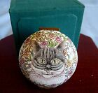 CHINEMEL by Y LEE China Porcelain Enamel COPPER TRINKET BOX Gray TABBY CAT