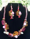 American Blues Chunky Plastic Beaded Necklace And Earring Set Pink Red Orange
