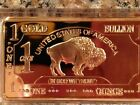 Lot of 8 -Gold Plated Bar 1 Ounce Oz Buffalo' 100MILLS Gift .999