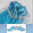 Elsa Dress Up Gown Costume Ice Princess Queen Anna Kids Girls Party Dress Outfit