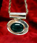 STERLING SILVER HEAVY PENDANT WITH GREEN OVAL JADE ON A ROPE CHAIN NECKLACE!