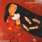Girl with lotus flowers and fishes Vietnamese Abstract Orig Lacquer painting