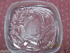 Vintage Square Candy Dish Etched Flowers Clear Glass  .99 Cents Sale