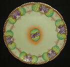 ANTIQUE ART NOUVEAU PORCELAIN CABINET PLATE HAND PAINTED GOLD VIOLETS GERMANY