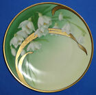 ANTIQUE PORCELAIN CABINET PLATE HAND PAINTED GOLD FLOWERS ART NOUVEAU GERMANY
