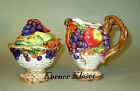 Fitz & Floyd Autumn Bounty Creamer and Covered Sugar Bowl with Spoon - NIB