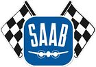 Saab with chequered flag vintage decal old scandinavian motorsport rare
