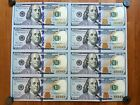 One Hundred Dollar Bill Uncut Sheet of 8 $100 Bills Uncirculated MINT CONDITION