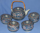 Vintage Japanese 5 piece Blue Floral Pot and Tea Set  Lidded Signed Underglazed