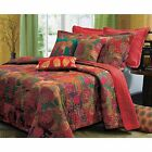 BEAUTIFUL EXOTIC RED TEAL GREEN PALM PURPLE GOLD BLUE MOROCCAN GLOBAL QUILT SET