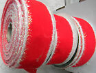 NEW Craft Holiday Christmas Ribbon Bows Wire Edge Red White Fuzzy 3 ROLLS 2 x 30