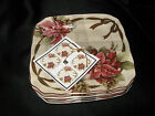 222 FIFTH YULETIDE CELEBRATION  POINSETTIA APPETIZER  PLATES  8 - NEW