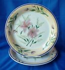Royal Norfolk Rnf10 Dinner Plates Purple Flowers Peach Rim Blue Trim - Set of 2