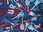 Rock Star flannel fabric - guitars lightning bolts skulls - blue red gray 1/2 YD