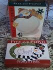 NIB 2 Fitz and Floyd Plates Frosty's Frolic Tray & Frosty Folks Canape Plate