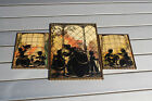 Set 3 Vintage Silhouette Pictures Reverse Painted Convex Glass Victorian Nursery