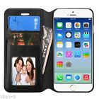 BLACK Leather Flip Wallet Case Cover Folio Pouch Stand For Apple iPhone 6 4.7