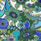 Fabric #2394 Large Print, Daisies & Swirls, Blue, Green, Blank, Sold by 1/2 Yard