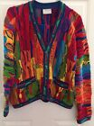 VINTAGE COOGI Mens Sweater ~ VIVID WAVE Multi Color 3D Button Front Cardigan S