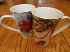 Set/ 2 222 Fifth Holiday Wishes Poinsettia Holly Tall Latte Coffee Mugs Cups NEW