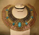 Egyptian Queen Cleopatra Necklace Handmade Colorful Beads 7 Scarabs 5-50