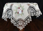 Hand crochet lace ribbon embroidery tablecloth teacloth table topper vivid green