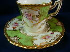 COALPORT demi CUP AND SAUCER BATWING RARE GREEN H.P. FLORAL BEADED c1891-20 GOLD