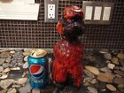 VINTAGE CANUCK/ EVANGELINE POTTERY RED/ORANGE DRIP POODLE DOG 10.5
