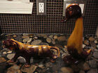 BLUE MOUNTAIN POTTERY HARVEST GOLD DUCK & TIGER PANTHER COUGAR CAT