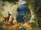 Charming oil painting wild animal nice deer under the trees by stream on canvas
