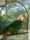 Green/Red Leather Decorative Parrot With Brass Hanging Perch