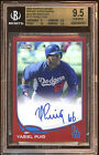 YASIEL PUIG 2013 TOPPS CHROME RED REFRACTOR ROOKIE RC BGS 9.5 AUTO 10 # 07 25